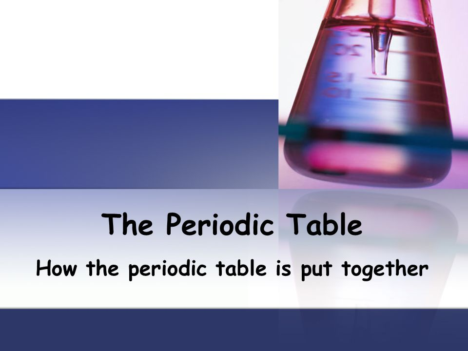 The Periodic Table How the periodic table is put together
