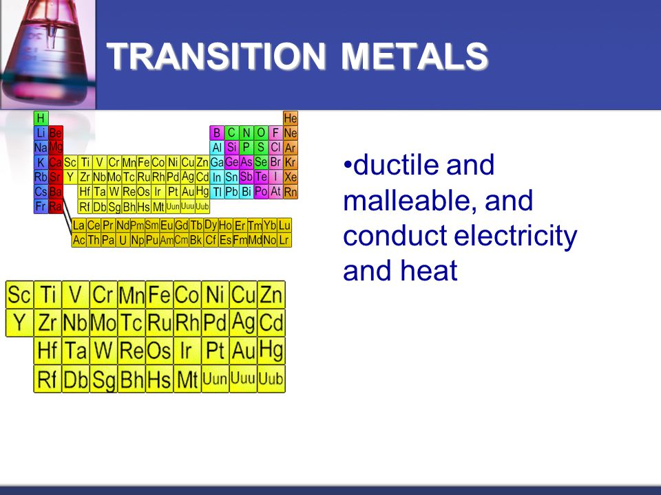 ductile and malleable, and conduct electricity and heat TRANSITION METALS