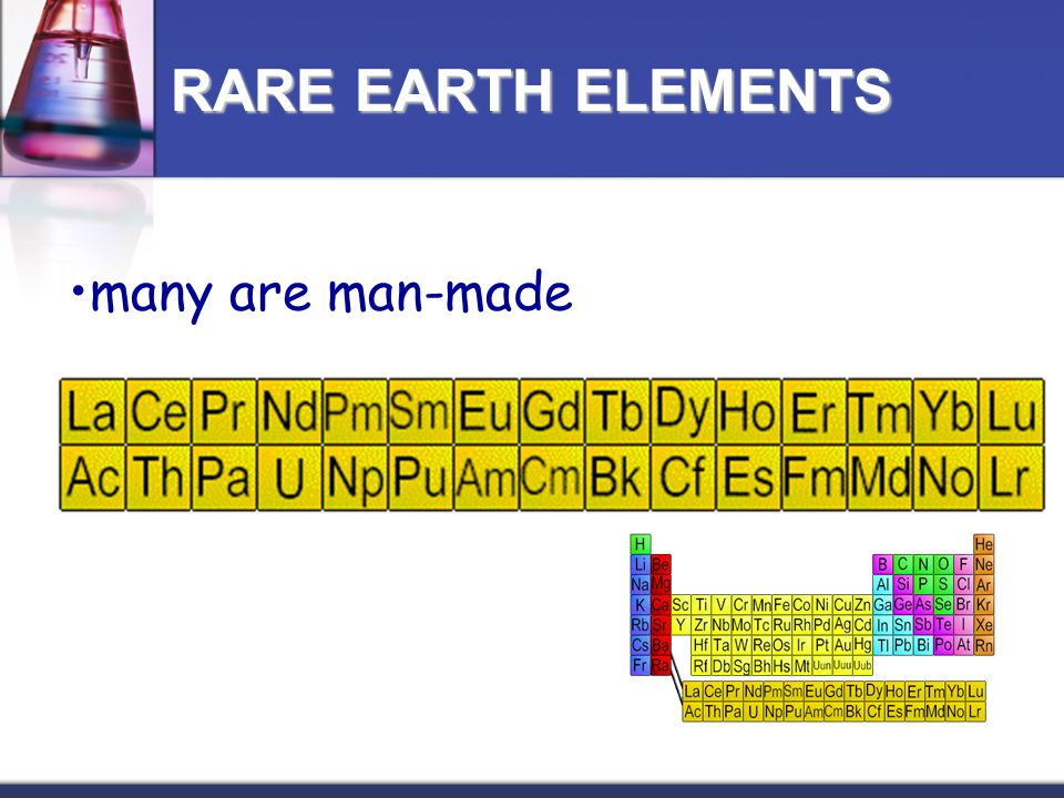 many are man-made RARE EARTH ELEMENTS