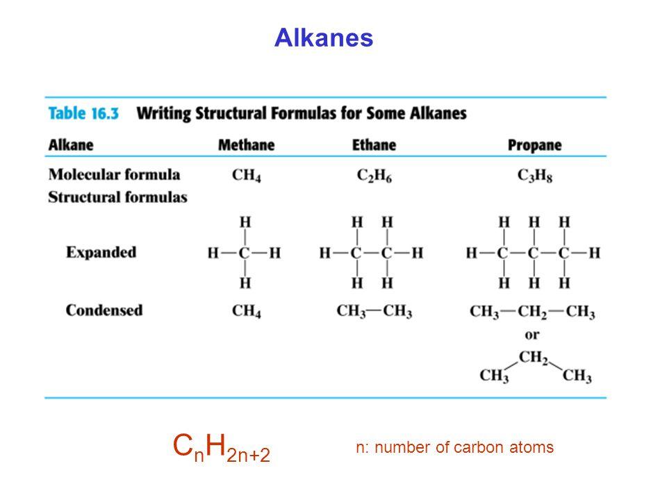 Alkanes C n H 2n+2 n: number of carbon atoms