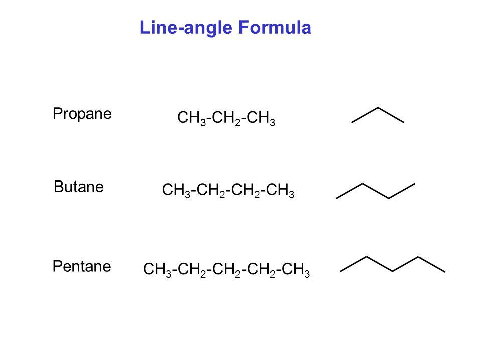 Line-angle Formula CH 3 -CH 2 -CH 2 -CH 2 -CH 3 Propane Butane Pentane CH 3 -CH 2 -CH 2 -CH 3 CH 3 -CH 2 -CH 3