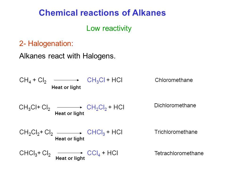 2- Halogenation: Alkanes react with Halogens.