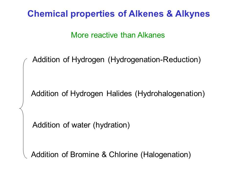 Chemical properties of Alkenes & Alkynes More reactive than Alkanes Addition of Hydrogen (Hydrogenation-Reduction) Addition of Hydrogen Halides (Hydrohalogenation) Addition of water (hydration) Addition of Bromine & Chlorine (Halogenation)