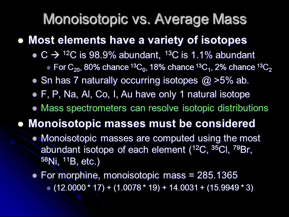 Monoisotopic vs. Average Mass Most elements have a variety of isotopes Most elements have a variety of isotopes C  12 C is 98.9% abundant, 13 C is 1.