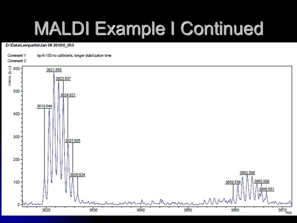 MALDI Example I Continued
