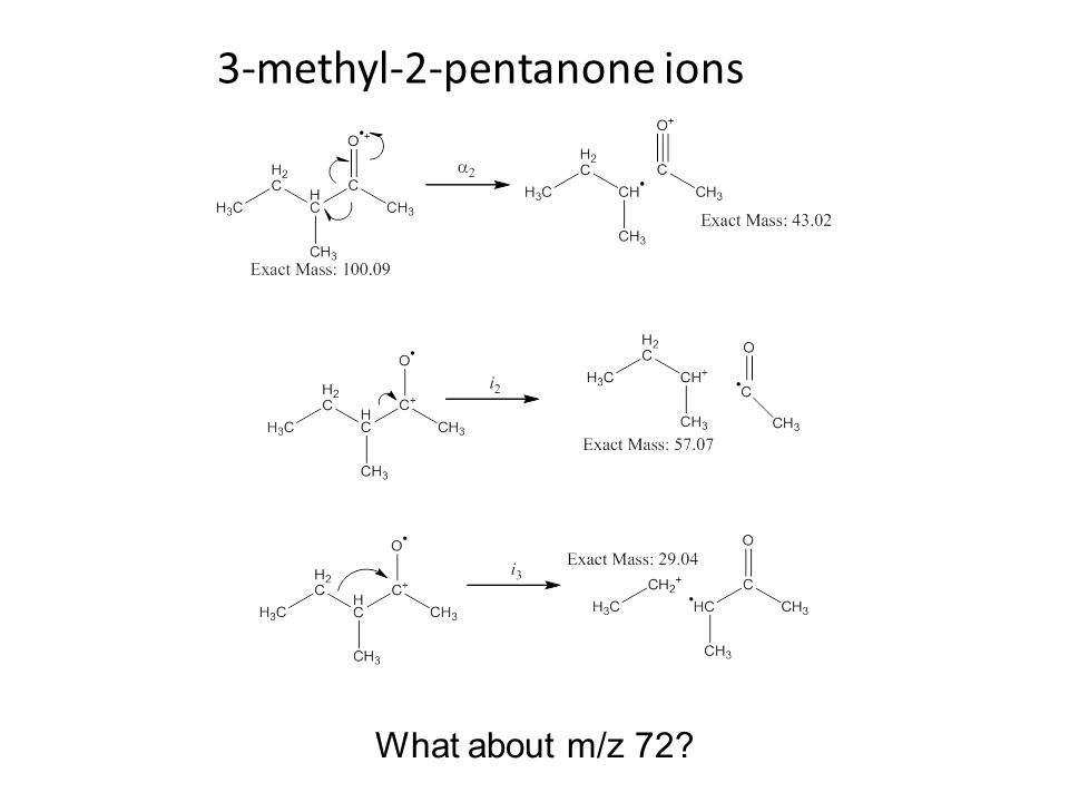 3-methyl-2-pentanone ions What about m/z 72