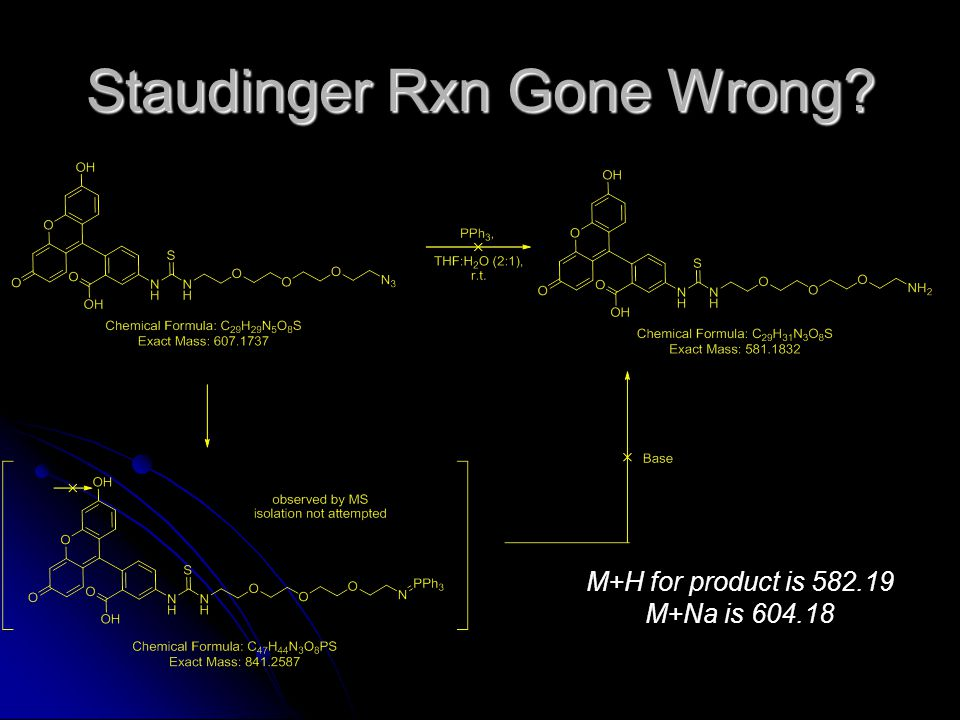 Staudinger Rxn Gone Wrong M+H for product is 582.19 M+Na is 604.18