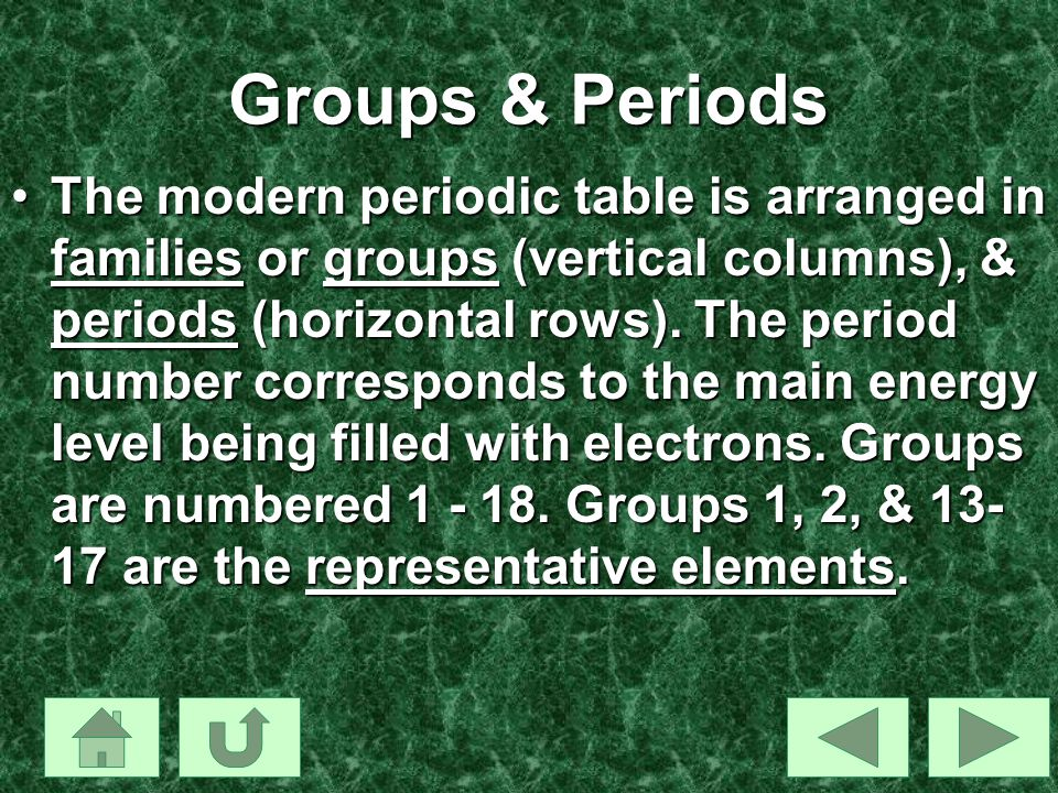 Groups & Periods The modern periodic table is arranged in families or groups (vertical columns), & periods (horizontal rows). The period number corres