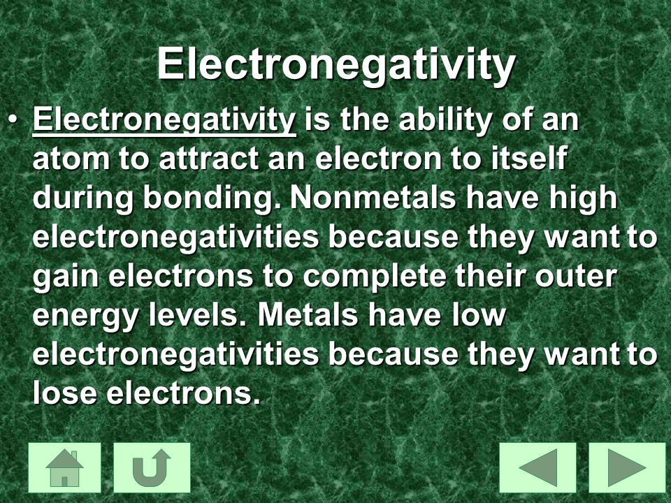 Electronegativity Electronegativity is the ability of an atom to attract an electron to itself during bonding. Nonmetals have high electronegativities