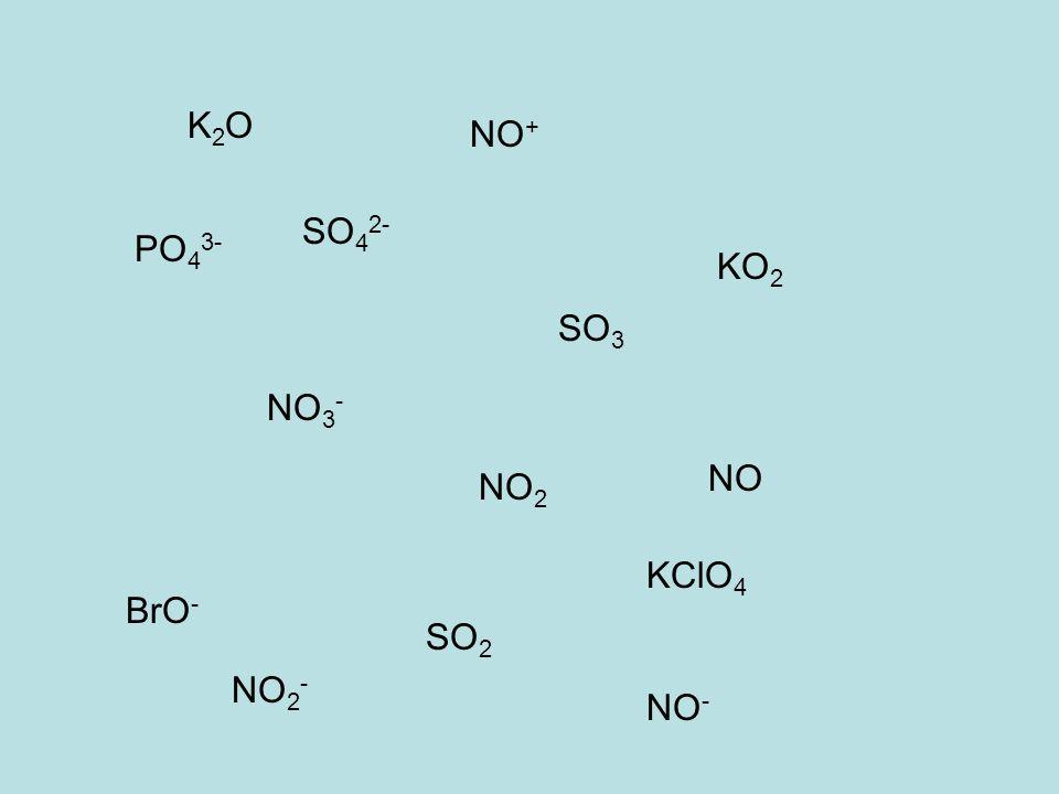 NO NO 2 NO + NO - NO 2 - NO 3 - PO 4 3- SO 4 2- SO 3 SO 2 KO 2 K2OK2O BrO - KClO 4