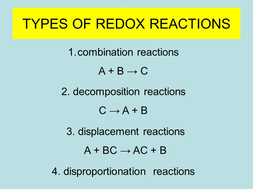 TYPES OF REDOX REACTIONS 1.combination reactions A + B → C 2.