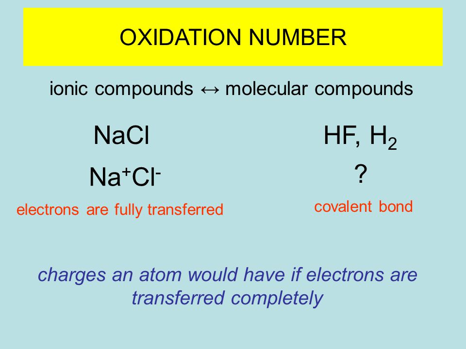OXIDATION NUMBER ionic compounds ↔ molecular compounds NaClHF, H 2 Na + Cl - .