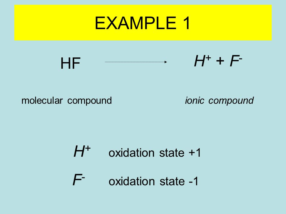 HF H + + F - molecular compoundionic compound F - oxidation state -1 H + oxidation state +1 EXAMPLE 1
