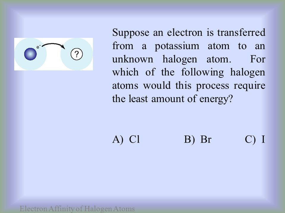 Electron Affinity of Halogen Atoms Suppose an electron is transferred from a potassium atom to an unknown halogen atom.
