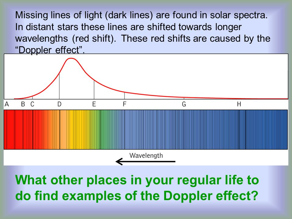 Missing lines of light (dark lines) are found in solar spectra.