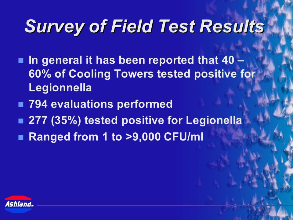 ® Drew Industrial's Best Practices Legionella risk management program follows best practices designed to minimize conditions conducive to Legionella growth in cooling systems.