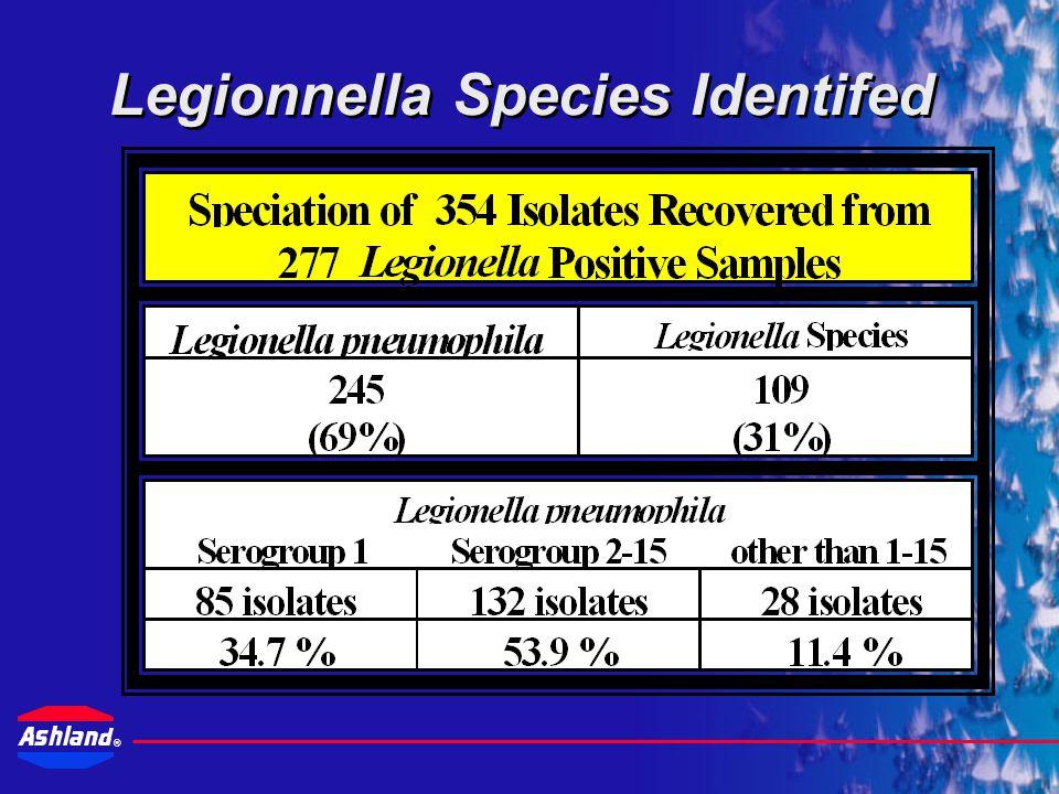 ® Detected Legionella Levels <1-1 CFU/ml2-9 CFU/ml10-99 CFU/ml100-999 CFU/ml >=1,000 CFU/ml 76 isolates24 isolates104 isolates55 isolates18 isolates 27.4%8.7%37.5%19.9%6.5% Based on 277 positive results 36.1% confirmed as <10 CFU/ML 26.4% confirmed as >100 CFU/ML
