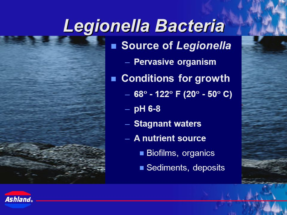 ® A source of Legionella Favorable growth conditions Aqueous aerosol Sufficient organisms to cause infection Susceptible individual Factors Determining the Risk of Contracting the Disease