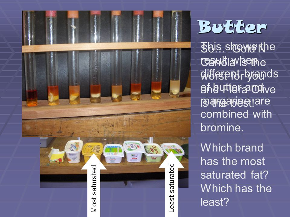 Butter This shows the result when different brands of butter and margarine are combined with bromine.