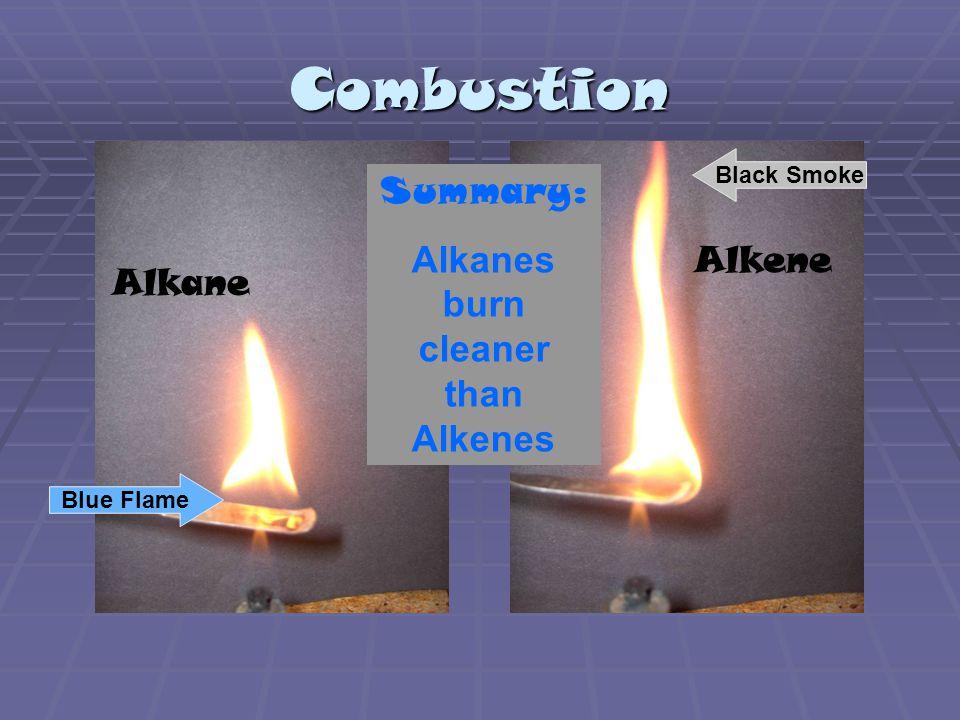 Combustion Alkane Alkene Blue Flame Black Smoke Summary: Alkanes burn cleaner than Alkenes