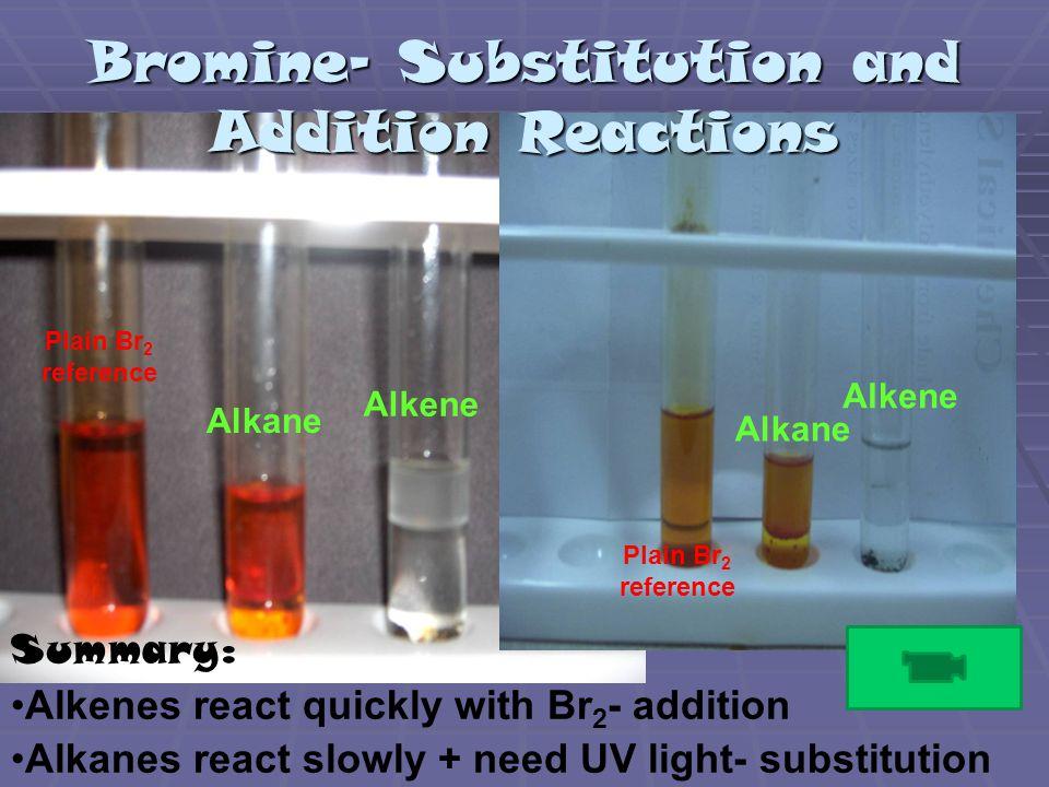 Plain Br 2 reference Alkane Alkene Alkane Alkene Summary: Alkenes react quickly with Br 2 - addition Alkanes react slowly + need UV light- substitution Bromine- Substitution and Addition Reactions