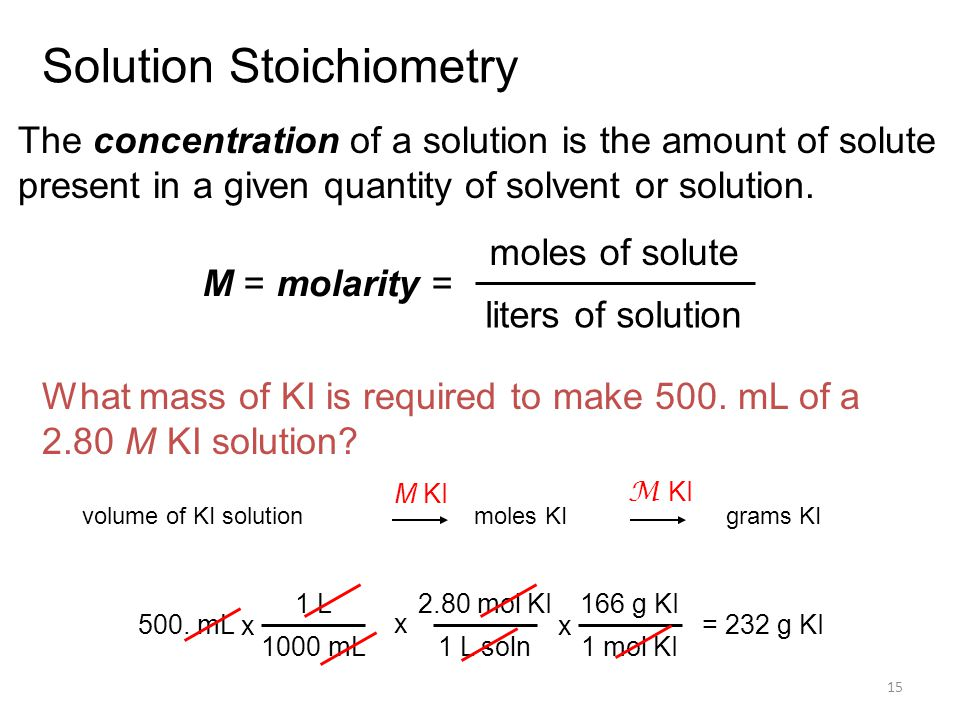 15 Solution Stoichiometry The concentration of a solution is the amount of solute present in a given quantity of solvent or solution.