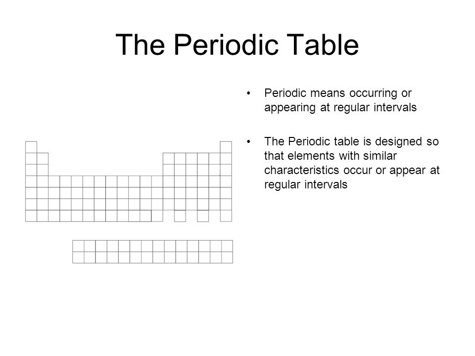 The Periodic Table Periodic means occurring or appearing at regular intervals The Periodic table is designed so that elements with similar characteristics occur or appear at regular intervals