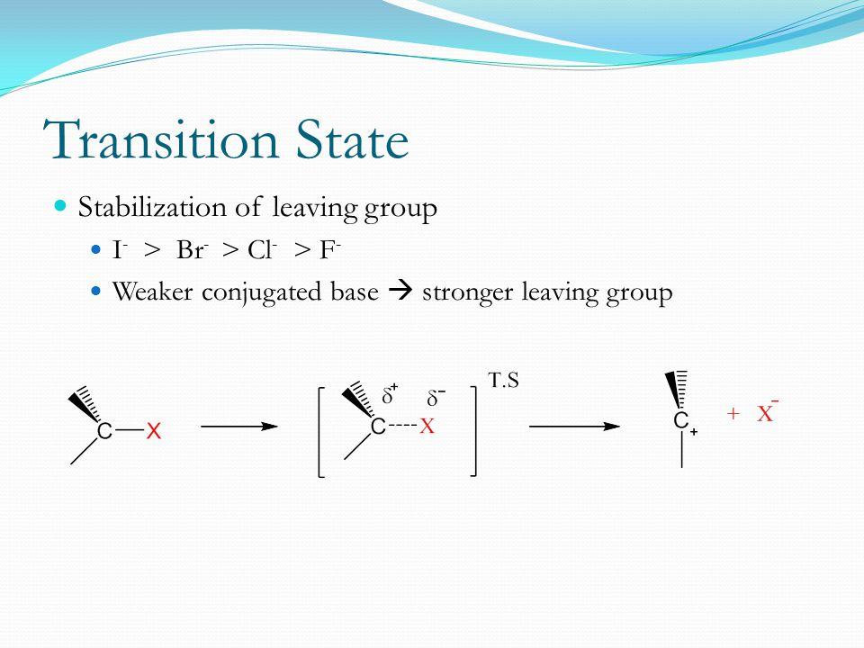 Transition State Stabilization of leaving group I - > Br - > Cl - > F - Weaker conjugated base  stronger leaving group