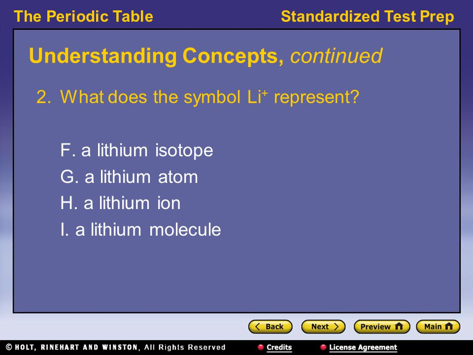 The Periodic TableStandardized Test Prep Understanding Concepts, continued 2.What does the symbol Li + represent.