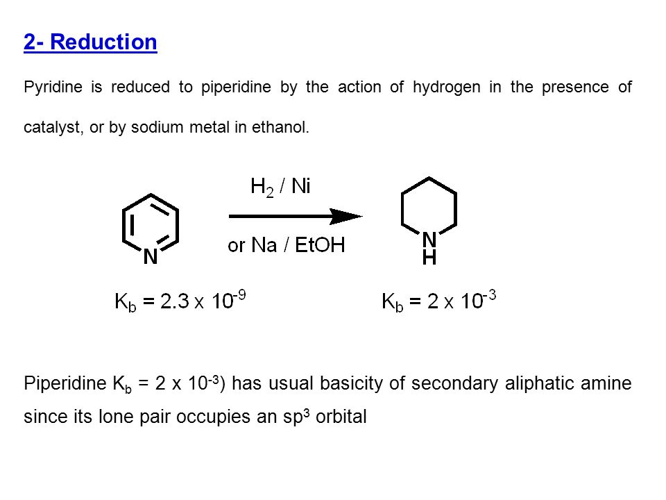 5- Oxidation Like any other tertiary amine, pyridine is oxidized by peracids (e.g., peracetic acid perbenzoic acid) to its N-oxide
