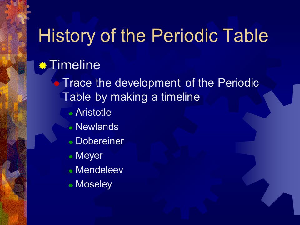 History of the Periodic Table  Timeline  Trace the development of the Periodic Table by making a timeline  Aristotle  Newlands  Dobereiner  Meye