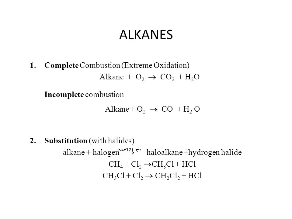 2.Substitution (with halides) alkane + halogen  haloalkane +hydrogen halide CH 4 + Cl 2  CH 3 Cl + HCl CH 3 Cl + Cl 2  CH 2 Cl 2 + HCl 1.Complete C