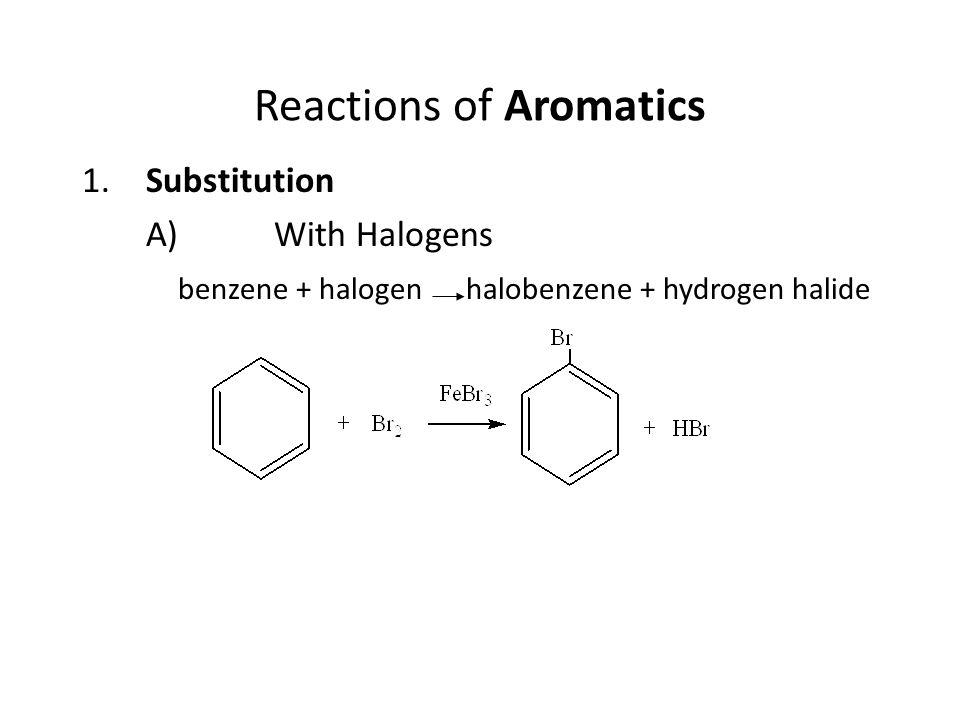 2.With Alkyl Halides benzene + alkyl halide alkyl benzene + hydrogen halide 3.With Nitric Acid ( not mentioned in textbook) benzene + nitric acid nitrobenzene + water