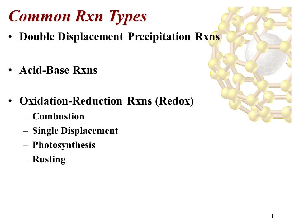 1 Common Rxn Types Double Displacement Precipitation Rxns Acid-Base Rxns Oxidation-Reduction Rxns (Redox) –Combustion –Single Displacement –Photosynth