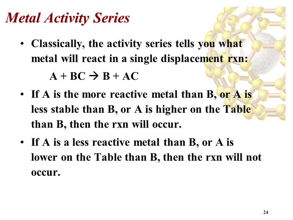 24 Metal Activity Series Classically, the activity series tells you what metal will react in a single displacement rxn: A + BC  B + AC If A is the mo