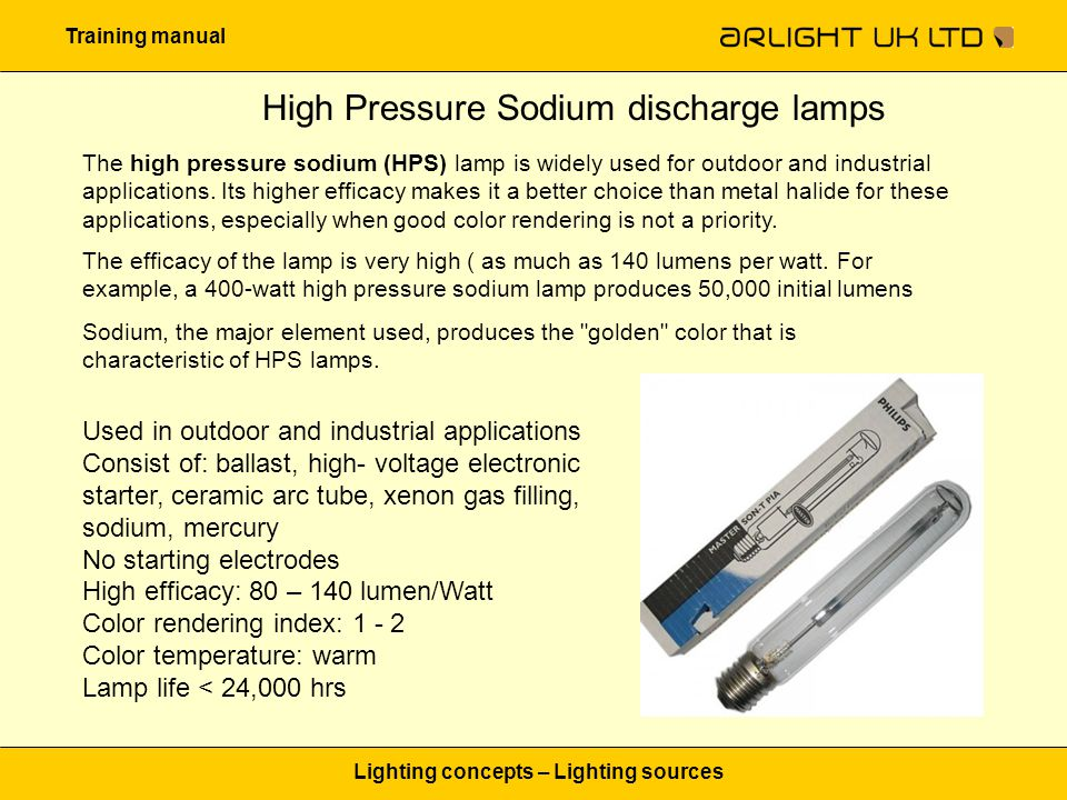 Training manual Lighting concepts – Lighting sources High Pressure Sodium discharge lamps The high pressure sodium (HPS) lamp is widely used for outdo