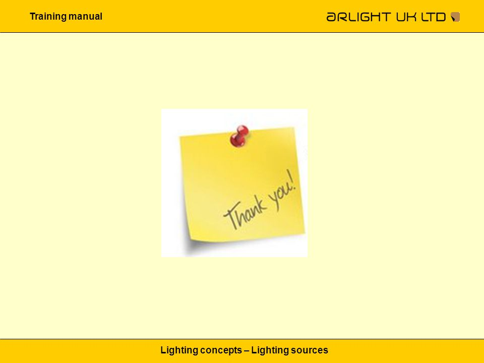 Training manual Lighting concepts – Lighting sources
