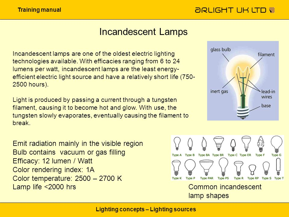 Training manual Lighting concepts – Lighting sources Incandescent Lamps Incandescent lamps are one of the oldest electric lighting technologies available.
