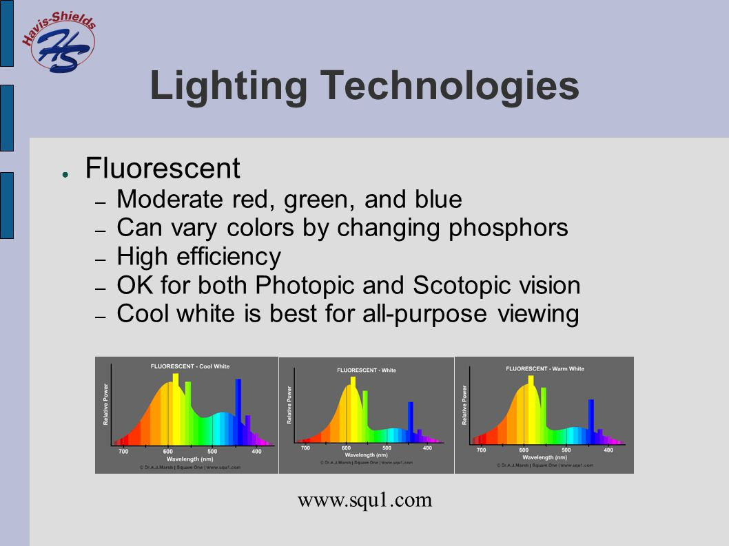 Lighting Technologies ● Fluorescent – Moderate red, green, and blue – Can vary colors by changing phosphors – High efficiency – OK for both Photopic a