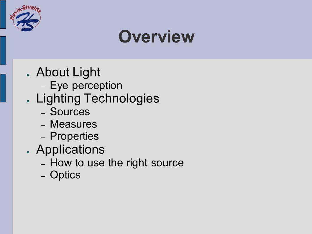 Measures ● Lumen – Quantity of light (standardized) ● Effective Lumen – Quantity of light (usable) ● Color Temperature – Color of light ● Color Rendering Index – Quality of light