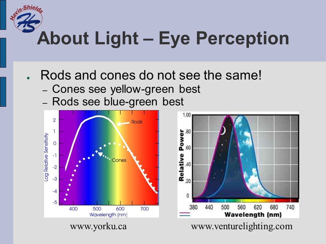 About Light – Eye Perception ● Rods and cones do not see the same! – Cones see yellow-green best – Rods see blue-green best www.yorku.cawww.venturelig