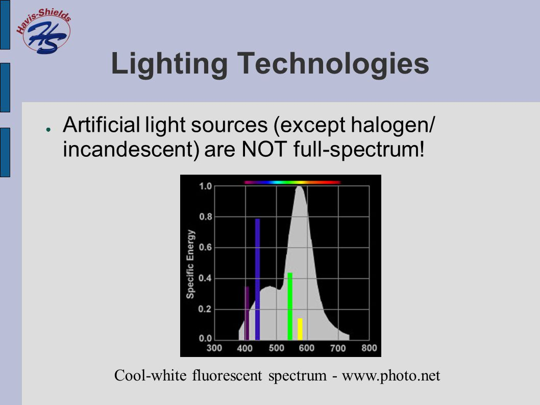 Lighting Technologies ● Artificial light sources (except halogen/ incandescent) are NOT full-spectrum.