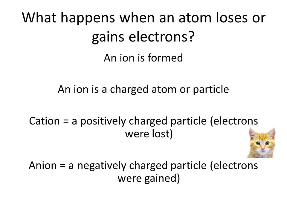 What happens when an atom loses or gains electrons? An ion is formed An ion is a charged atom or particle Cation = a positively charged particle (elec