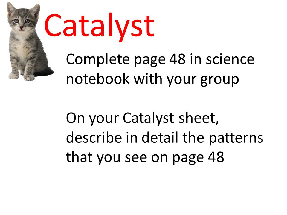 Catalyst Complete page 48 in science notebook with your group On your Catalyst sheet, describe in detail the patterns that you see on page 48