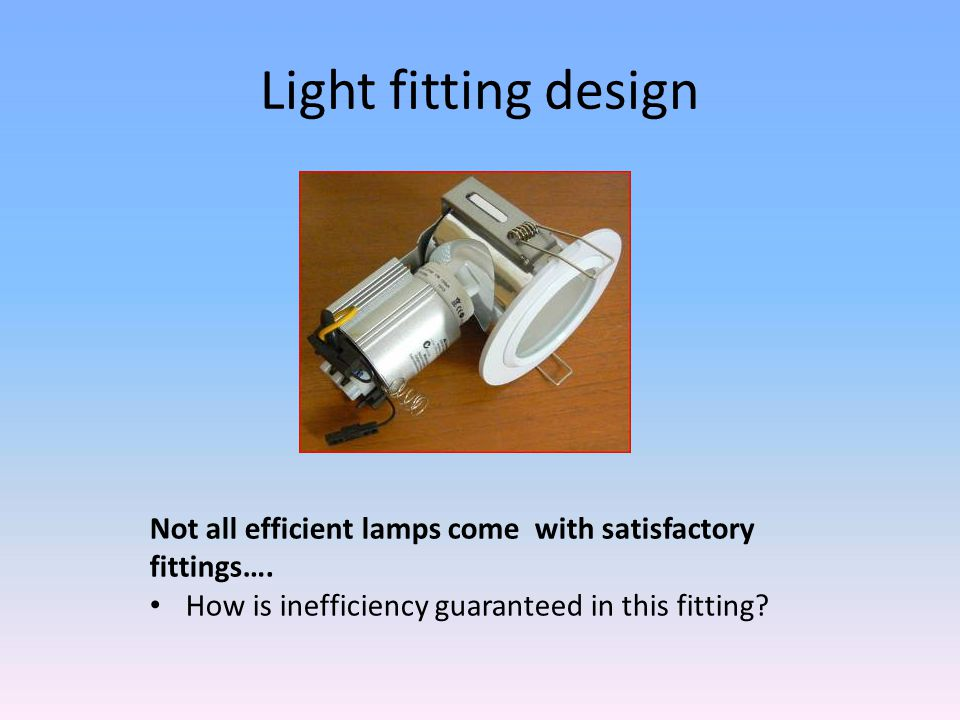 Light fitting design Not all efficient lamps come with satisfactory fittings….