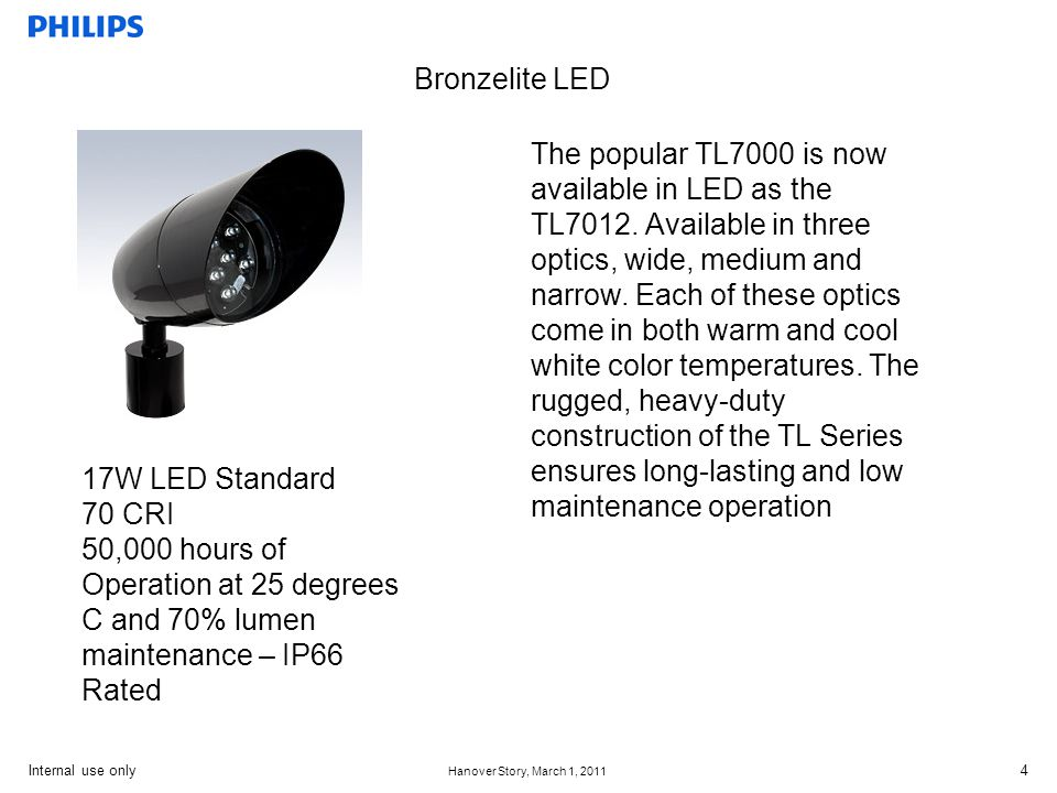 Internal use only Hanover Story, March 1, 2011 5 Bronzelite LED Bronzelite LED bricklytes are designed as a matched replacement for a standard sized brick.
