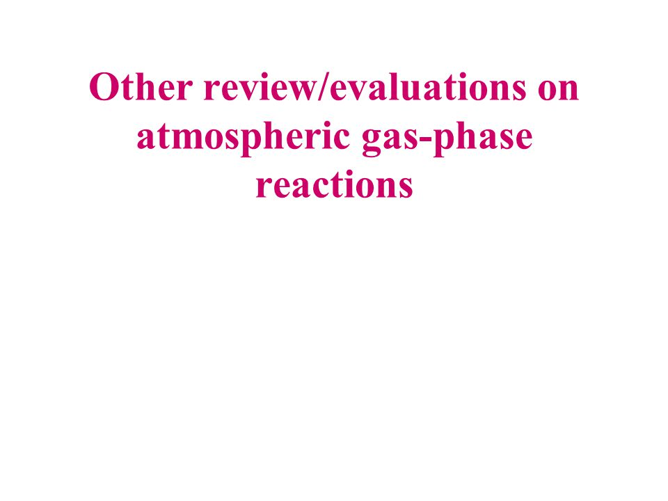 Other review/evaluations on atmospheric gas-phase reactions