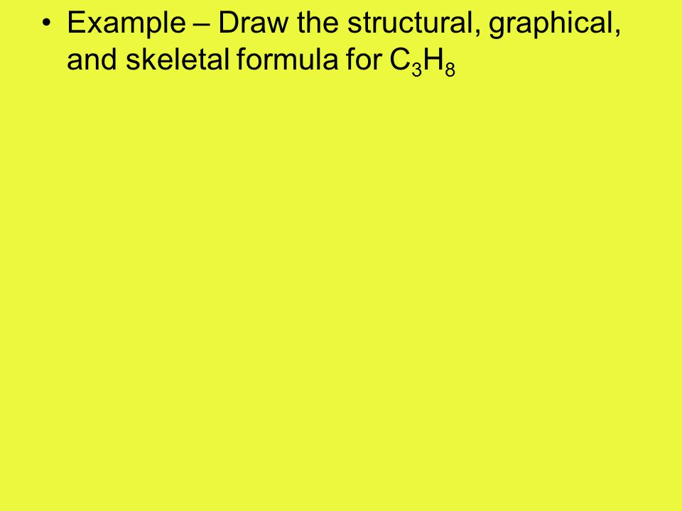 Example – Draw the structural, graphical, and skeletal formula for C 5 H 8 O 2