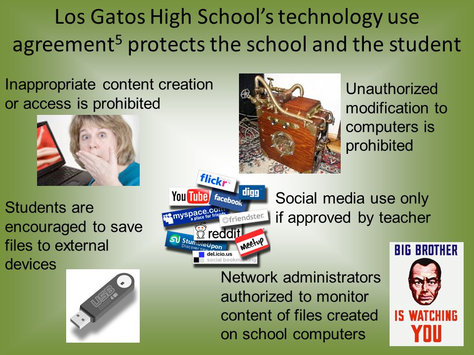 Los Gatos High School's technology use agreement 5 protects the school and the student Inappropriate content creation or access is prohibited Students are encouraged to save files to external devices Network administrators authorized to monitor content of files created on school computers Unauthorized modification to computers is prohibited Social media use only if approved by teacher