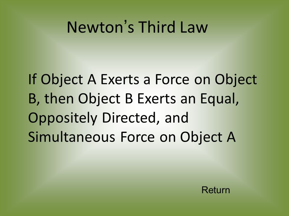If Object A Exerts a Force on Object B, then Object B Exerts an Equal, Oppositely Directed, and Simultaneous Force on Object A Newton's Third Law Return